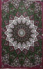 Indian Bedcover Flower Star Mandala Cotton Textile Twin Tapestry Wall Hanging