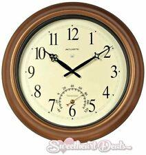 AcuRite 18 inch Round Atomic Bronze Metal Outdoor Clock w/ Thermometer Garden