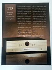 CONRAD JOHNSON OEM PRODUCT BROCHURE - ET-5 TUBE PRE-AMPLIFIER - NICE!