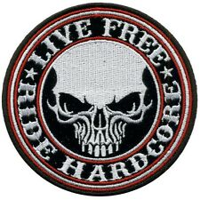 "Patch Skull ""Live Free"" écusson thermocollant biker blouson gilet custom"