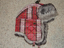 Womens Eddie Bauer Red Plaid Fur Trim S/M Quilted Lined Winter Hat Ear Flaps