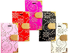 New Fashion Leather Bling  Diamond Wallet Book Case Cover For All Mobile Phone
