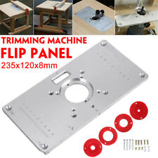 235X120X8mm Aluminum Router Table Insert Plate w/ 4 Rings Screws for