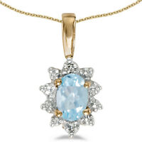 "10k Yellow Gold Oval Aquamarine And Diamond Pendant with 18"" Chain"