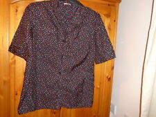 Black, red and ivory pattern short sleeve blouse, ALEXON, size 12