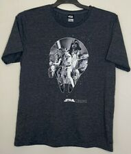 Star Wars Mens Size L Shirt Grey Top Tee Cotton Polyester Short Sleeve