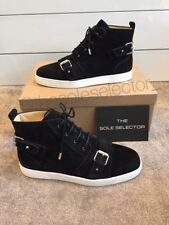 100% Authentic New Christian Louboutin Nono Strap Black Suede Hi Top Sneakers