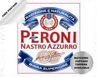 Peroni beer edible icing cake / cupcake toppers - personalise