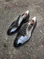 Chaussures à lacets Oxford en cuir véritable noir pour hommes faits à la main