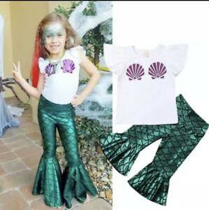 Kids Girl's The little mermaid tail princess ariel dress cosplay costume