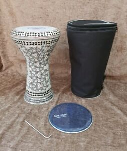 "Darbuka Percussion Doumbek Aluminum inlaid Mother of Pearl 17"" Bavly Music Brand"