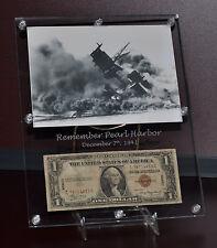 1942 Hawaiian Overprint Dollar / Battleship Arizona Acrylic Photo Table Display