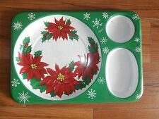 vintage christmas plastic serving tray with poinsettias