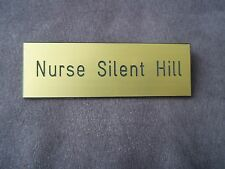 Silent Hill Nurse Costume, Custom engraved name badge.
