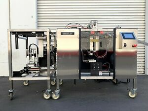 4 Sides Vertical Form Fill Seal w Conveyors, Quadrel Labeler Q33, & Sato S8408RD