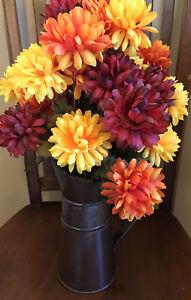 Floral Arrangement Metal Light Weight Pitcher - Fall Autumn Home Decor