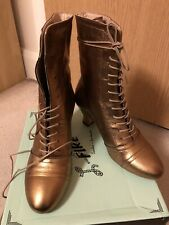 Miss L Fire Frida Boots Size 40/UK 7 Bronze/Gold New In Box Retro Vintage Style