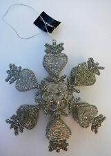 "Creative Co-Op XC0069B 9"" Silver Beaded Heart Snowflake Tealight Holder Ornament"
