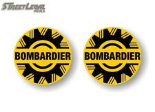 "(2) Vintage BOMBARDIER 4"" Vinyl Decals Ski-Doo Snowmobile Sled Trailer Stickers"