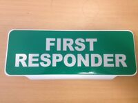 FIRST RESPONDER WHITE Text univisor Sign Sun visor Safe Response