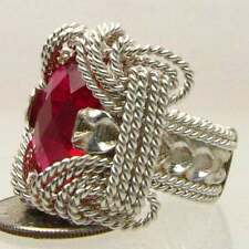Wire Wrapped Sterling Silver Man Made Ruby Ring