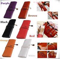 Retro Roll Makeup Pencil Pen Brush Case Purse Pouch Cosmetic Bag Leather S6
