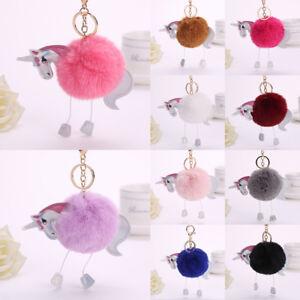 Keyring Soft Faux Fluffy Rabbit Unicorn Handbag Pendant Charm PomPom Keychain