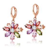 Charm Mix Color Morganite Topaz Gem Flower Shape Rose Gold Women Jewelry Earring