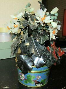CLOISONNE ENAMEL WHITE AND GREEN JADE FLOWER BLOSSOM TREE