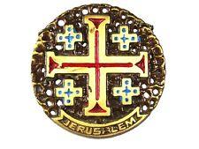 Vintage Jerusalem Croix Laiton Médaille / Médaillon Fabriqué en Israël 31416