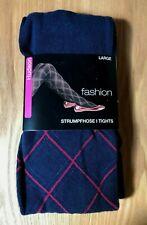 "Hudson ""fashion"" Strumpfhose Baumwoll-Strick / Blau mit Karos / Gr. 42-44"