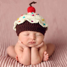 Newborn Baby Crochet Knit Cupcake Beanie Hat Photo Photography Prop Costume