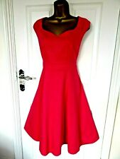 """50'S STYLE 99% COTTON  DRESS BY BHS UK-14  IN PINK BUST 38"""" LENGTH 41"""" LINED"""