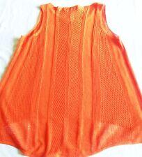 Prochain Open Stitch gilet orange vif Crochet Haut Dentelle 100% coton taille 14 très bon état
