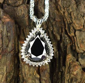 8.43 Ct Black Diamond Solitaire Halo Pear Cut Pendant