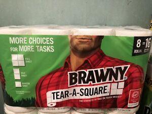 Brawny Tear a Square 8ROLLS paper towel = 16 regular rolls