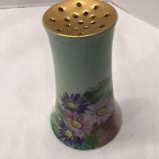 Antique signed Hand Painted Porcelain Floral & Gold Gilt Hatpin Holder