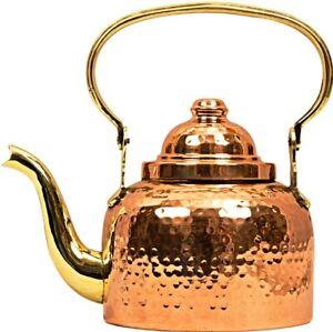 Pack of 1 Beautiful Designer Hammered Copper Tea / Coffee Serving Kettle Pot