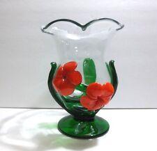 "Vintage Italian Art Glass VASE Orange FLOWERS Green LEAVES 7.25"""