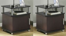 Cherry Brown 2-Piece Storage End Table Set Home Living Room Den Furniture