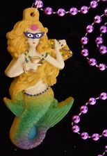 Masked Mermaid Mardi Gras Bead Necklace Laua Spring Break Party Carnival Fs
