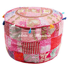 Bohemian Pouffe Cover Embroidered Patchwork Floral Vintage Cotton Sari 22Inch