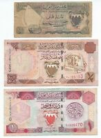 1964 1983 1993 BAHRAIN 100 FILS 1/2 & 1 DINAR VF RARE 3 NOTES P1, P12 & P13