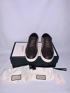 Gucci GG Supreme Tessuto Dark Brown low Top Men Sneakers Sz10.5G /US11.5