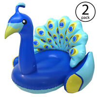 Swimline Giant Inflatable Peacock Swimming Pool Float with Backrest (2 Pack)