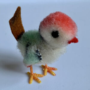 """Rare Vintage SCHUCO Miniature Detailed Tiny 2"""" Colorful Bird Germany So Cute!"""