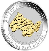 2019 Australia WELCOME STRANGER GOLD NUGGET 24k GILDED 1oz SIlver $1 Coin