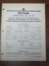 Vtg RCA Victor Service Manual for the 87EY 87X 87Y Receiver/Radio~1937~Original