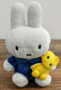 Miffy Plush Toy Approx 6 Inches Blue Shirt Miffy With Yellow Bear