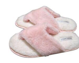 NEW Laura Ashley Pink Slippers Thongs Flip Memory Foam Faux Fur Size 8 9